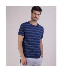 camiseta masculina básica listrada manga curta gola careca azul marinho