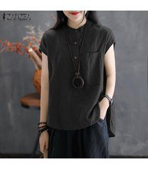zanzea blusa con botones básicos para mujer blusa túnica suelta talla grande -negro