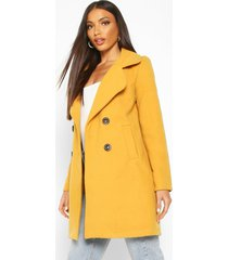 double breasted collared wool look coat, mustard