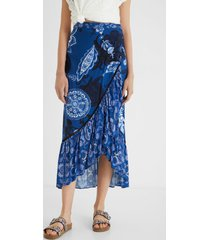 long skirt flounces paisley - blue - l