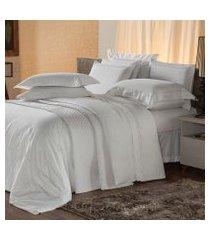 jogo de cama solteiro plumasul premium harmonious 3 pçs bordado branco