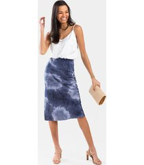 laura satin printed midi skirt - navy