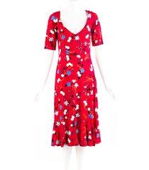 erdem red floral print scoop neck flounce dress red/multicolor/floral print sz: m