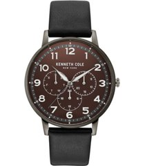 kenneth cole new york men's dress sport black leather strap watch 42mm