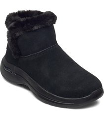 womens go walk arch fit shoes boots ankle boots ankle boot - flat svart skechers
