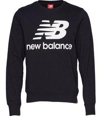 essentials stacked logo crew sweat-shirt tröja svart new balance