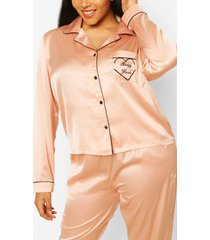 plus 'sleepyhead' satijnen pyjamabroekset, roségoud