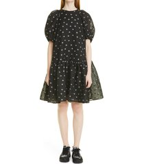 cecilie bahnsen alexa floral cloque babydoll dress, size 2 us in black/white at nordstrom