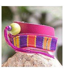 leather and cotton wrap bracelet, 'bright jaguar' (guatemala)