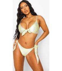 brocade hipster bikinibroekje met zijstrikjes, yellow