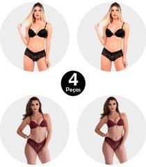 kit 4 conjunto imi lingerie com bojo strappy bra fio duplo em renda amã¡lia sortido - multicolorido - feminino - renda - dafiti