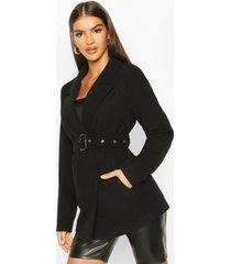 belted wool look blazer coat, black