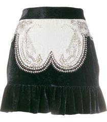wandering pearl embellished velvet mini skirt - black