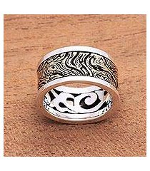 men's sterling silver and brass band ring, 'sandstorm' (indonesia)