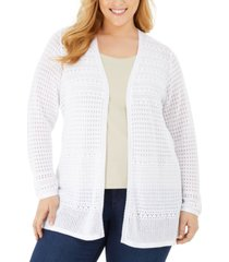 charter club plus size mixed-stitch pointelle cardigan, created for macy's