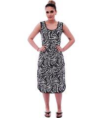 camisola ficalinda longuete de alça com viés preto em estampa animal print de zebra
