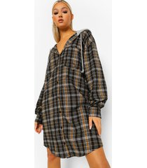 tall geruite blouse jurk met capuchon, black