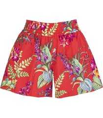 etro woman red shorts with floral print