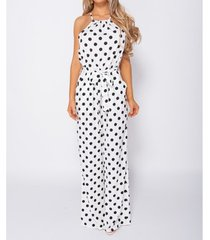 jumpsui parisian polka dot tie waist gathered neck jumpsuit