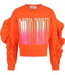 alberta ferretti orange sweatshirt for girl with logo