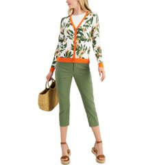 charter club printed v-neck cardigan, created for macy's