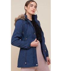 amaro feminino jaqueta parka sarjada com capuz, marinho