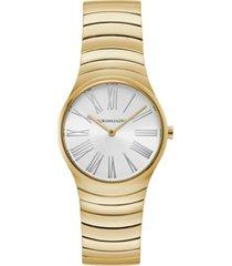 bcbgmaxazria ladies round goldtone stainless steel bracelet watch, 33mm
