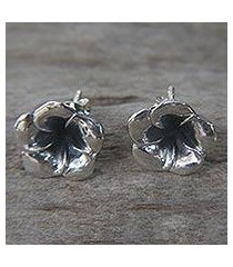 sterling silver flower earrings, 'silver allamanda' (indonesia)