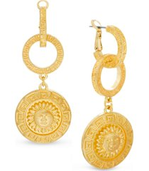 steve madden gold-tone linked hoop & sun disc drop earrings