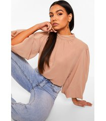 high neck balloon sleeve chiffon shirt, camel