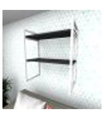 prateleira industrial para sala aço branco prateleiras 30 cm preto modelo indb08psl