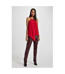 blusa de crepe folhas vermelho ceuta - 44