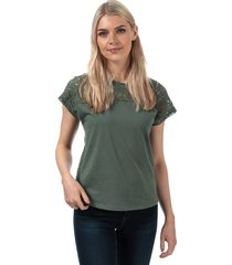 vero moda womens saga lace panel t-shirt size 6 in green