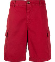 brunello cucinelli twill cargo shorts - red