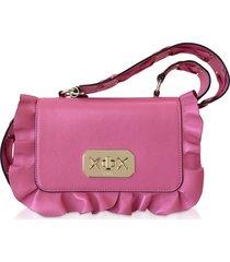 red valentino designer handbags, pink sunrise leather rock ruffle crossbody bag