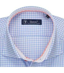 sleeve7 overhemd lichtblauwe ruit