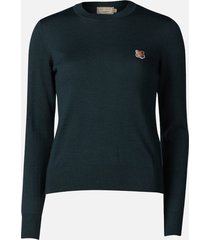 maison kitsuné women's merinos r-neck pullover fox head patch - blue/green - xs