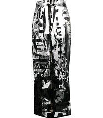 balmain all-over print fitted skirt - white