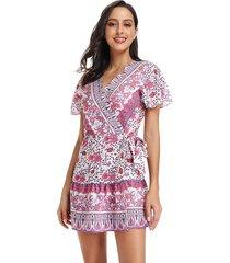 vestido estampado de playa deep v para mujer - rosa