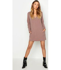 pocket detail v-neck mini dress, taupe