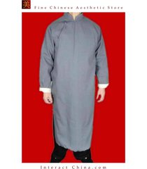 fine linen grey kung fu martial arts tai chi long coat robe tailor custom made