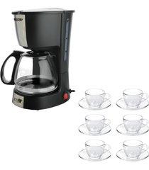 kit 1 cafeteira mallory filtro permanente 220v e 1 jogo de 6 xícaras 240ml com pires - tricae