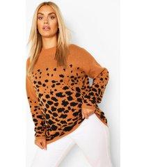 plus animal oversized sweater, camel