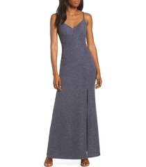 women's eliza j glitter knit crepe gown, size 14 - grey