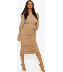 high neck ruched detail midi dress, stone