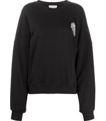 alexandre vauthier crystal-embellished sweatshirt - black