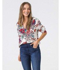 camisa estampado floral manga larga