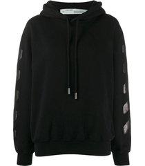 over-sized diagonal stripes hoodie black