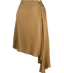 ann demeulemeester asymmetrical draped skirt - gold