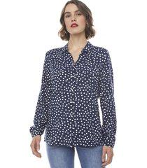blusa camisera i azul marino puntos  corona